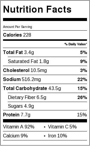 Nutrition-label-for-sweet-potato-gnocchi