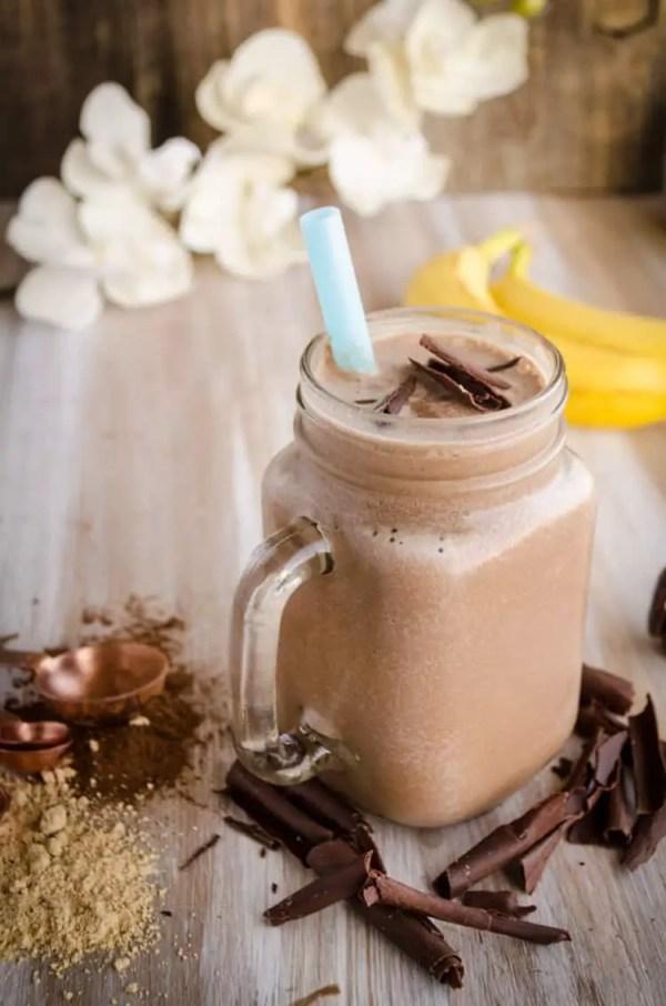 Peanut Butter Chocolate Banana Smoothie. 30 Valentine's Day Breakfast In Bed Ideas - The Goldilocks Kitchen