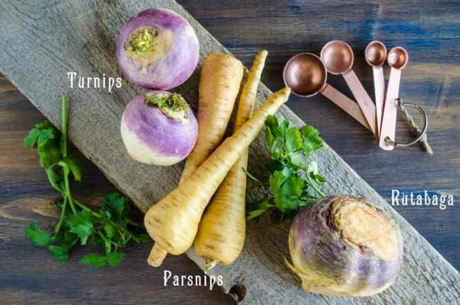Fresh Turnips, Parsnips and Rutabaga are displayed and labeled for Pesto Pasta with Roasted Root Veggies - The Goldilocks Kitchen