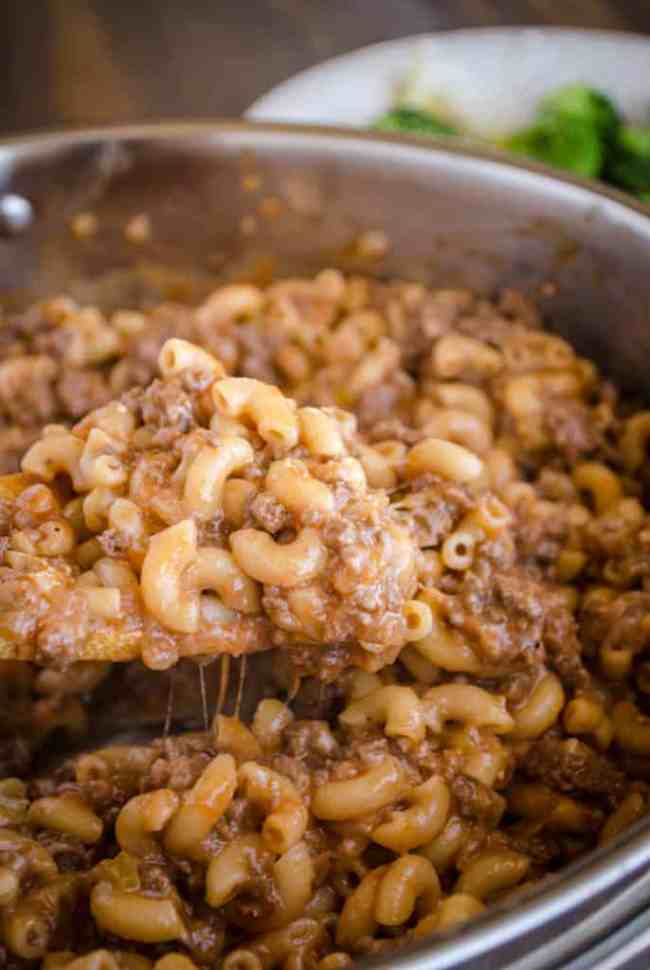 A close up of 30 Minute Chili Mac with melty cheese- The Goldilocks Kitchen