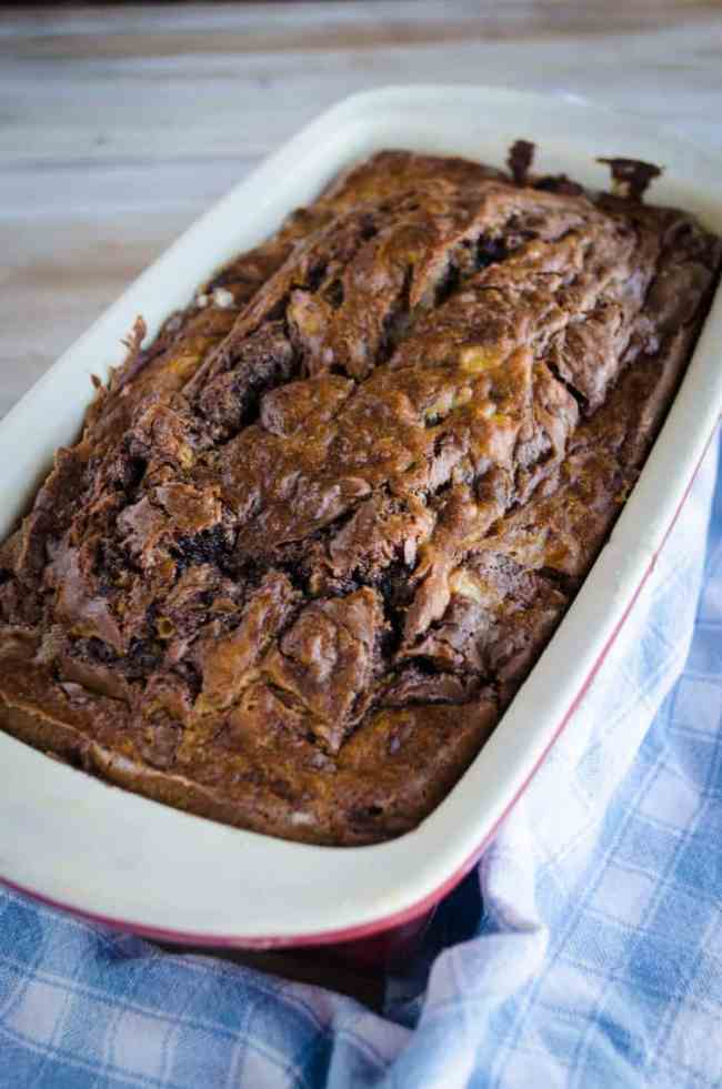 A loaf of freshly baked Nutella Banana Bread - The Goldilocks Kitchen