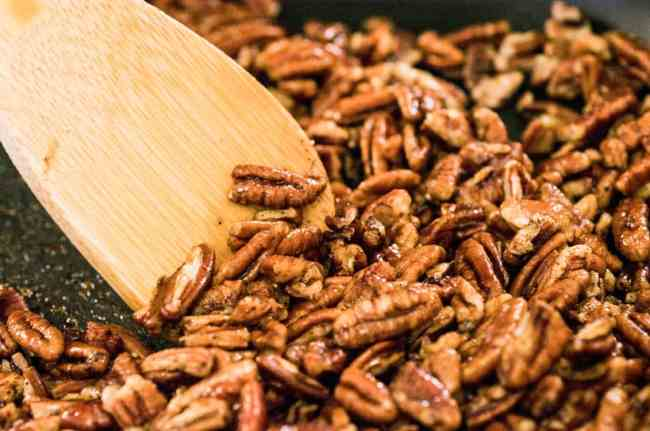 Candied Spice Pecans in a skillet ready to be removed to cool - The Goldilocks Kitchen