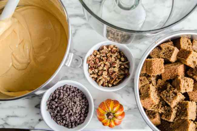 All ingredients for Pumpkin Spice Cheesecake Trifle set out for assembly - The Goldilocks Kitchen