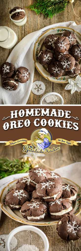 Homemade Oreo cookies are rustic, delicious, and so much better than store bought; especially when they're made with love. Pour yourself a tall drink of milk to dunk these classic cookies and fill them with as much filling as you like!