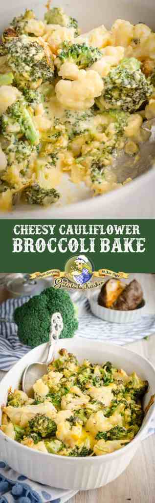 This simple and deliciousCheesy Cauliflower Broccoli Bake makes a great side for any chicken, beef or pork entree.