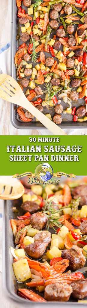 Sweet Italian sausage, bell pepper, onion, asparagus & carrots seasoned with herbs, roasted quickly in a simple sheet pan. 30 Minute Italian Sausage Sheet Pan Dinner ingredients can be assembled ahead of time and frozen to make life even easier!