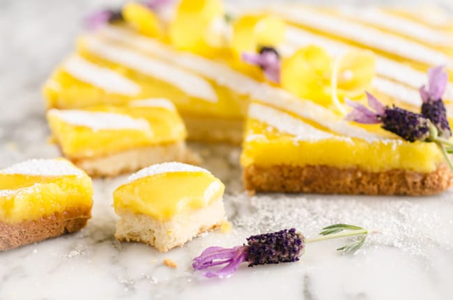 Goldilocks Kitchen Lemon Bars cut into a few individual servings - The Goldilocks Kitchen