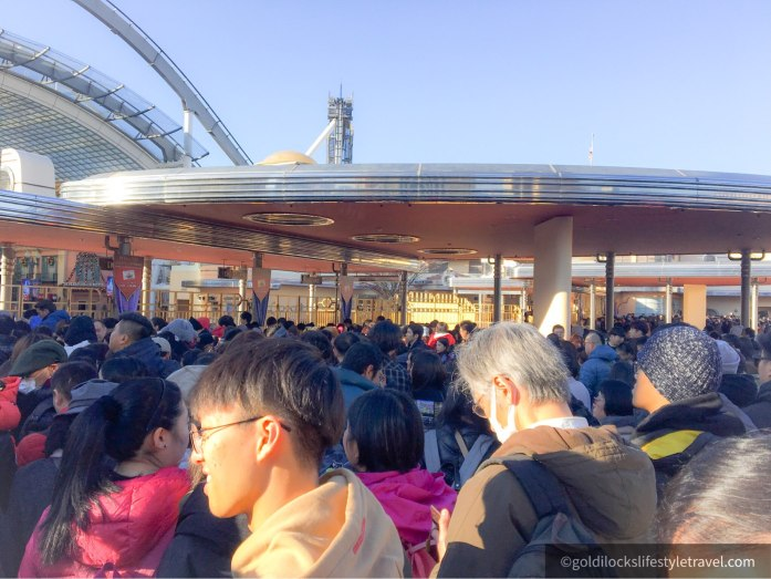 Visitors waiting patiently at the Universal Studios Japan's gate entrance