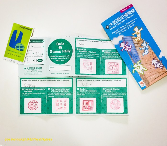 Booklet, pamphlet and ticket for kids at Osaka Museum of History