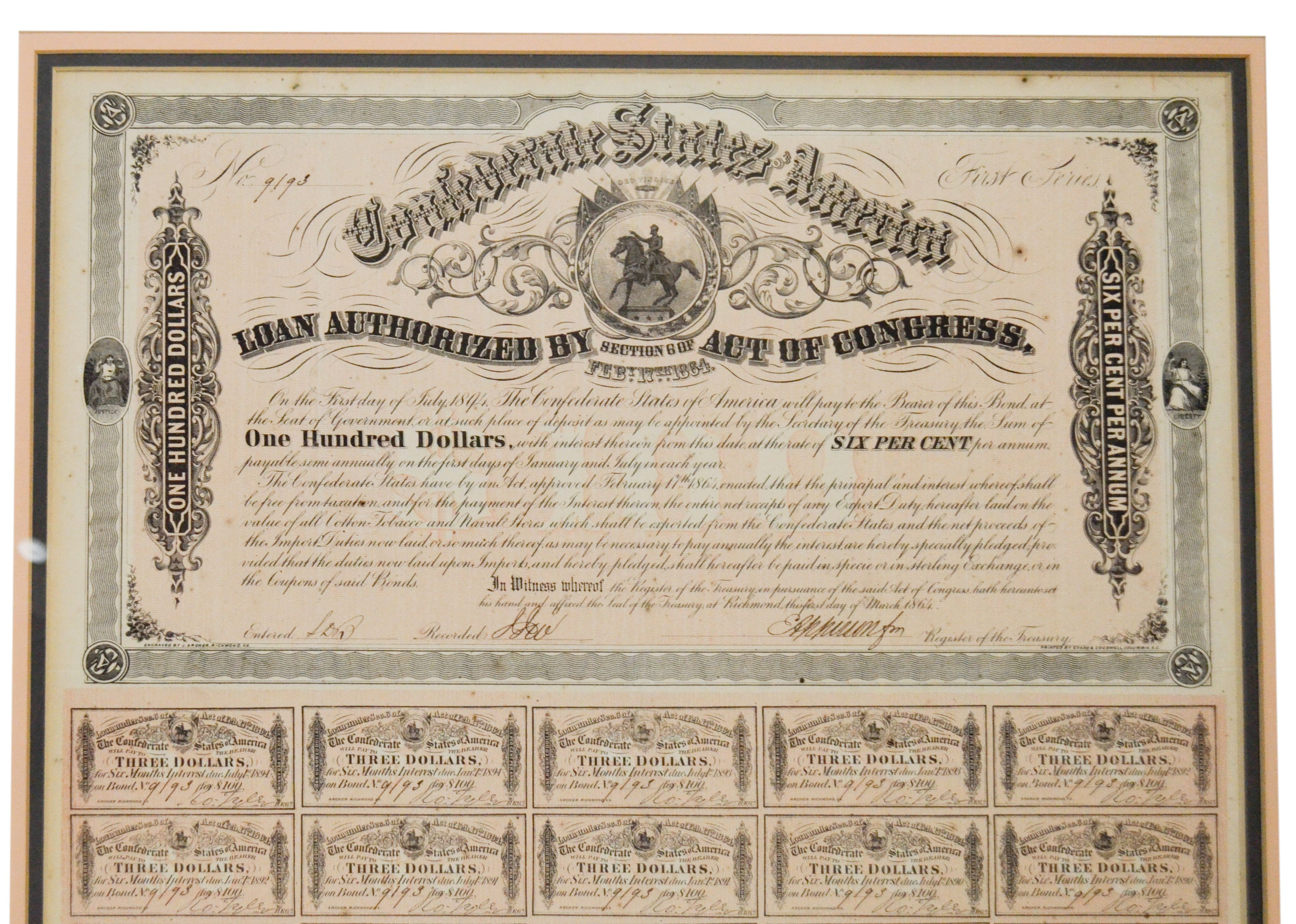Lot Detail 1864 Confederate States Of America Large Framed War Bonds Display