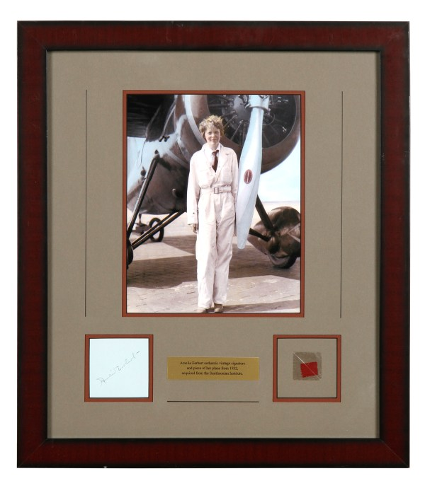 Lot Detail - Amelia Earhart Signed Display With Fabric