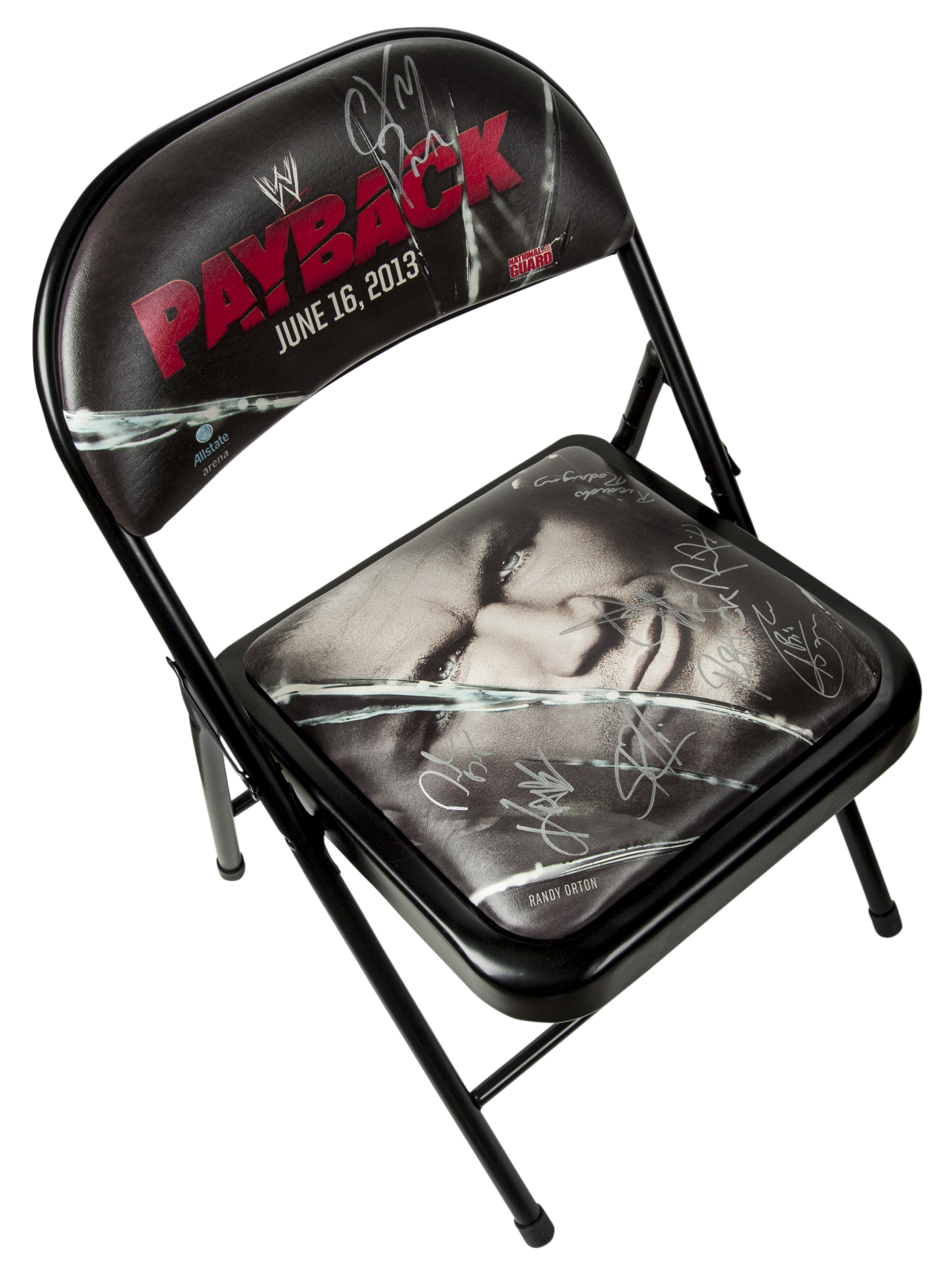 steel chair in wrestling blue and white lot detail wwe payback multi signed metal psa dna
