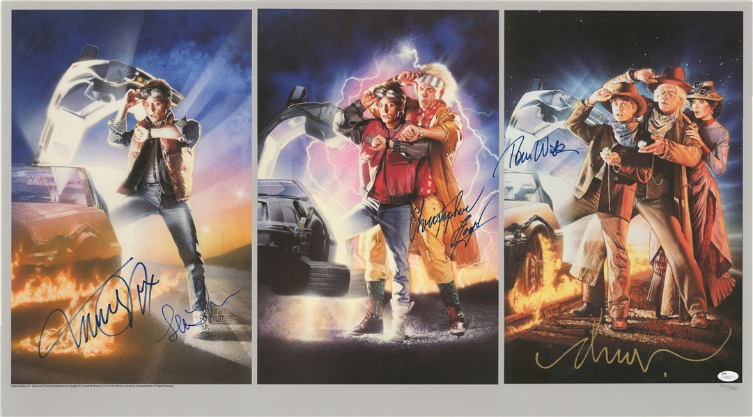 back to the future cast signed litho