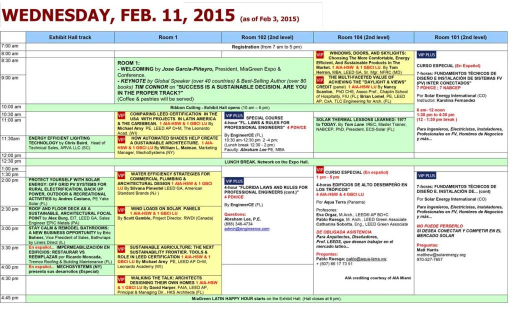 MiaGreen Conference Class Schedule Wednesday, Feb. 11th, 2015