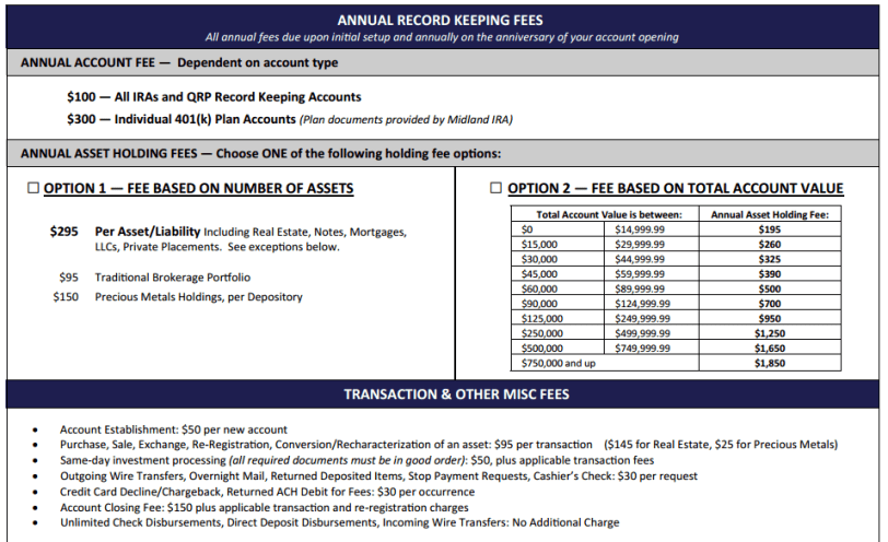 Midland Fee Schedule