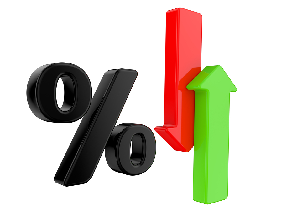 A 3d Rendered Illustration showing a Rise and Fall in Interest with symbol percent