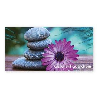 Gutscheine mit Blüten- und Steinmotiven