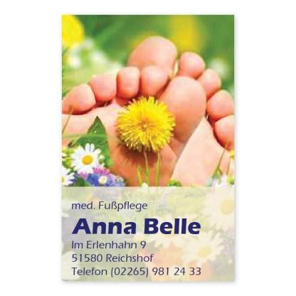 Fußpflege Visitenkarte SOMMERWIESE (Hochformat)