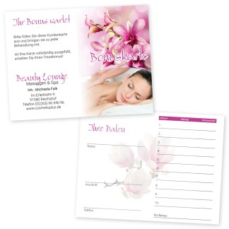 Massage-Kundenkarte RELAXING WOMEN (Hochformat)