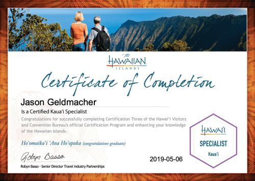 Jason Geldmacher Kaua'i Specialist Certification Certificate - Recognition