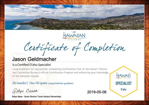 Jason Geldmacher O'ahu Specialist Certification Certificate - Recognition