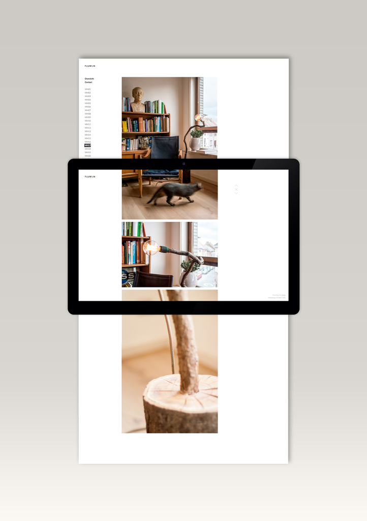 Scrolling web page design for Fluwijn lamps