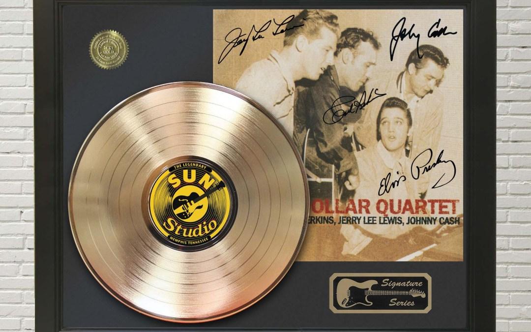 Elvis Presley – Million Dollar Quartet Framed Signature Gold LP Record Display M4