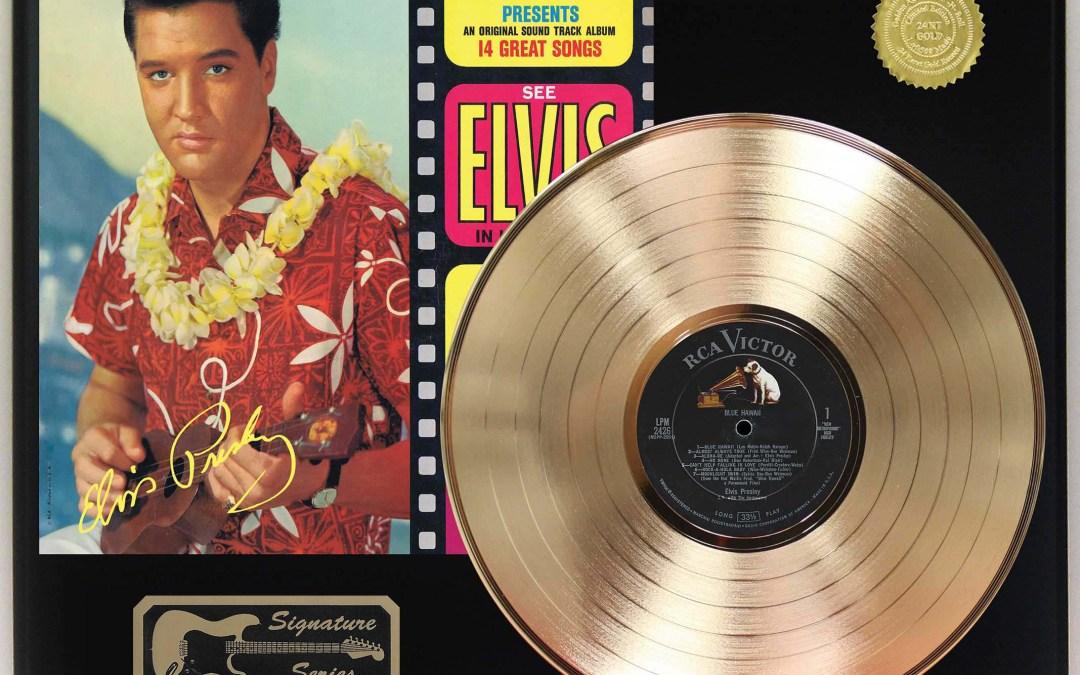 Elvis Presley – Blue Hawaii Gold LP Record Signature Display C3