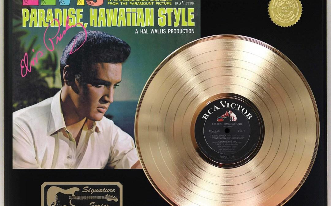 Elvis Presley – Paradise Gold LP Record Signature Display C3