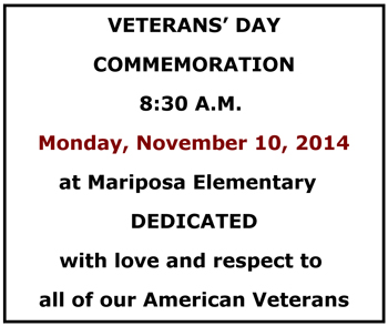 19th Annual Veterans' Day Ceremony to be Held at Mariposa