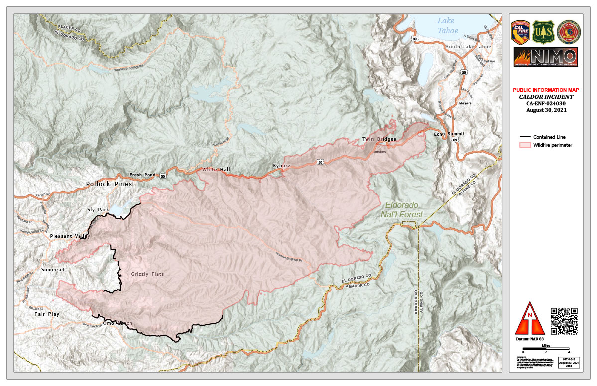 Receive alerts about wildfire locations and more with these top fire maps. California Caldor Fire Briefing Map And Public Information Map For Monday August 30 2021 Briefing Map Shows Divisions Uncontrolled Fire Edge Completed Dozer Lines