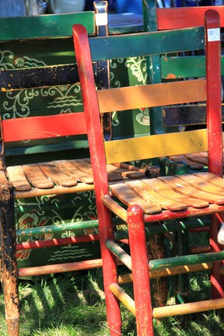 If you don't find the chairs painted this brightly you can always paint some the colors you like.
