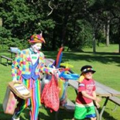 Oronoco National Night Out has a clown to entertain the children.