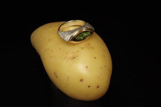 Ring in 925er Silber und Fassung in 900er GG mit Turmalin, 2,33 ct. 695 €