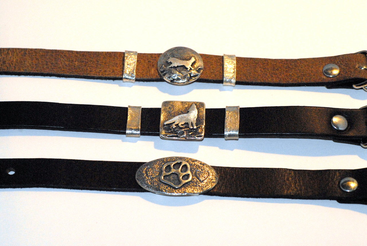 HundeschmuckArmband in 925Silber und Leder Motiv Wolf