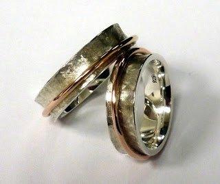 Trauringe aus Silber mit Rotgold als Rollringe  Handarbeit