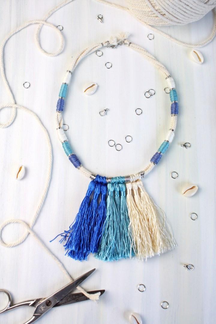 DIY Halskette aus Baumwollkordeln mit Quasten