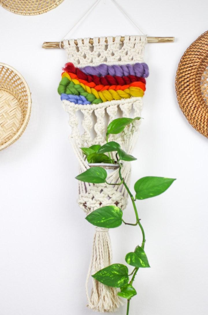 DIY Makramee Blumenampel-Wandbehang