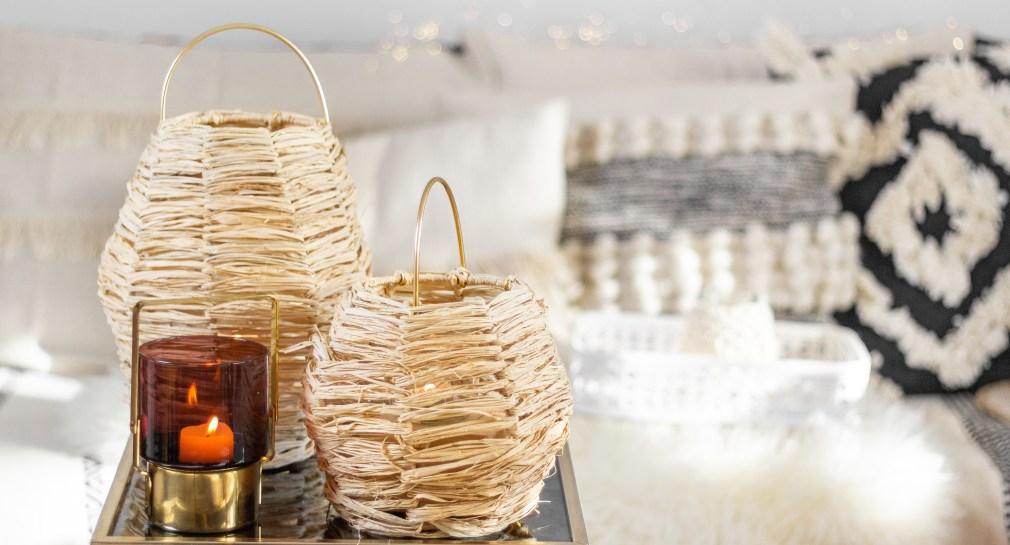 Goldschool DIY Laterne aus Draht und Bast Boho Dekoration selber machen