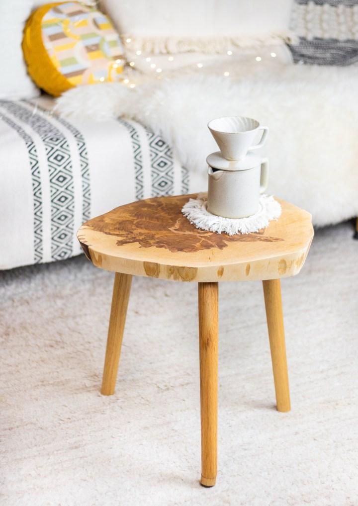 DIY Beistell-Tisch aus einer Baumschreibe bauen
