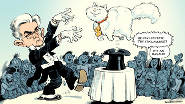 a political cartoon of Jerome Powell holding up the everything bubble.