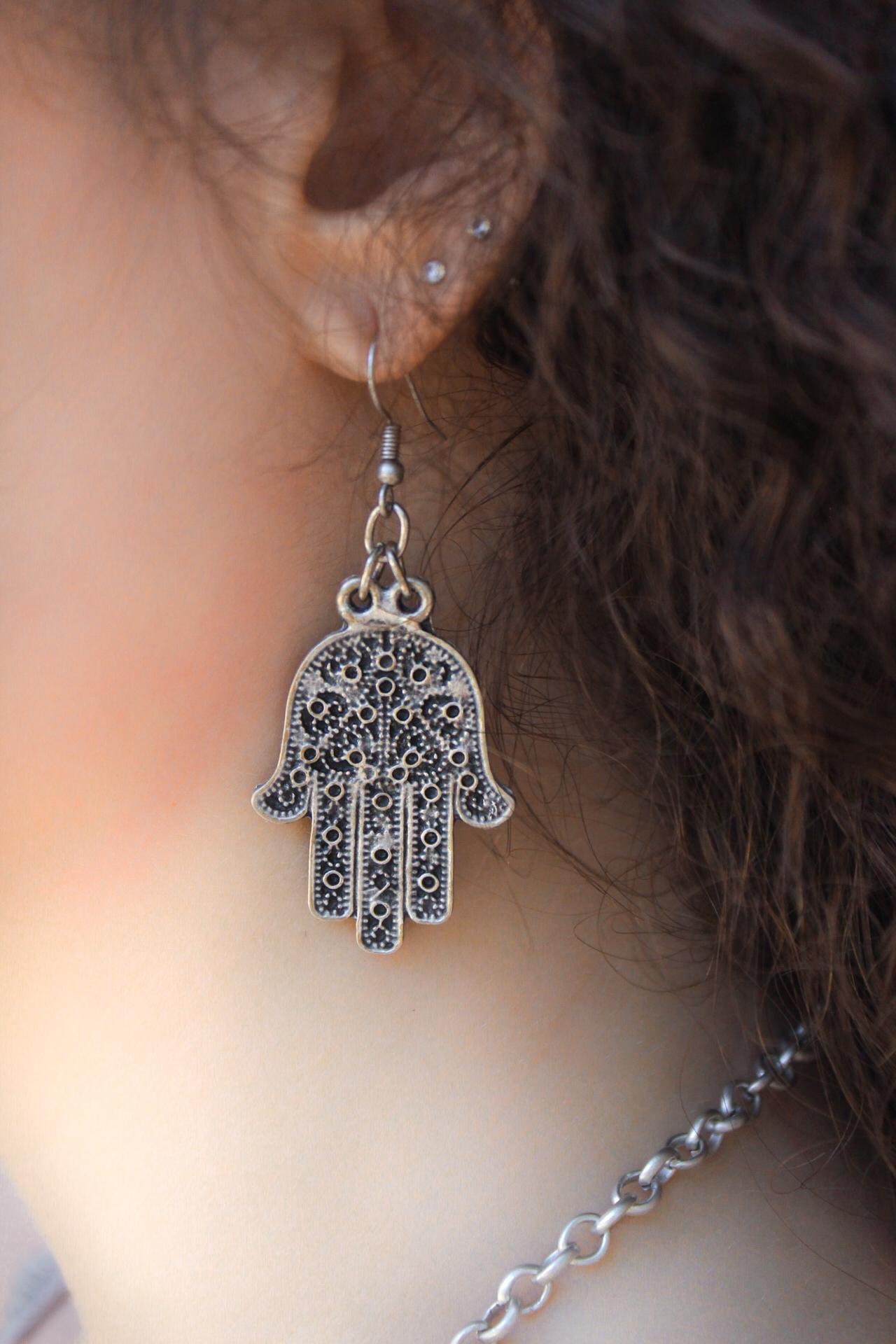 Silver Hamsa Hook Earring