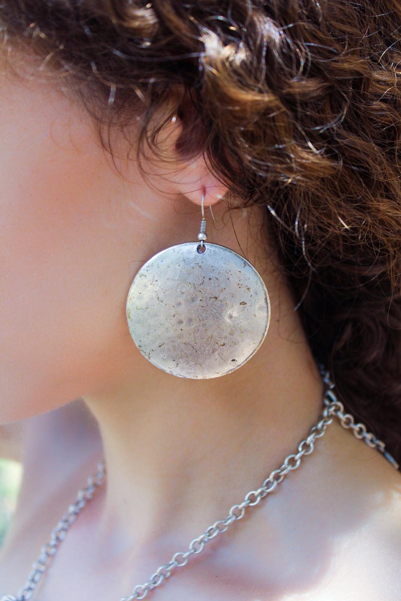 Silver Disc Hook Earrings