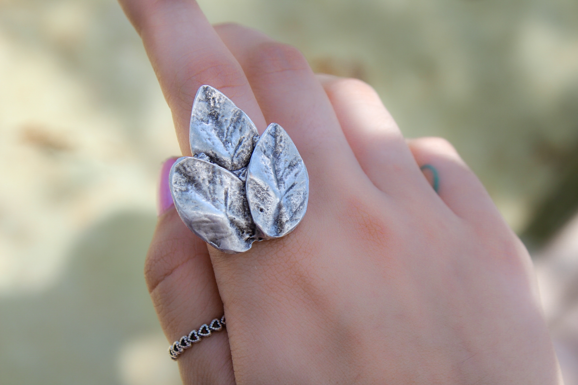 Three Leafed Silver Hammered Ring