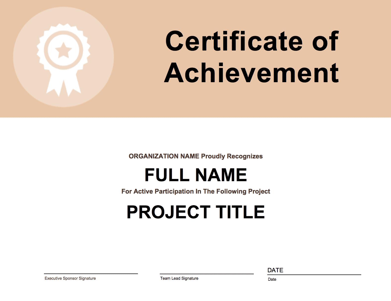 Project Participation Certificate