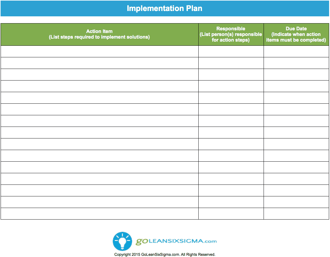 Implementation Plan Worksheet