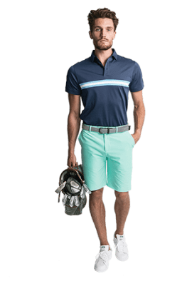 The Lucas Polo in Navy and the Martin Short in Aqua