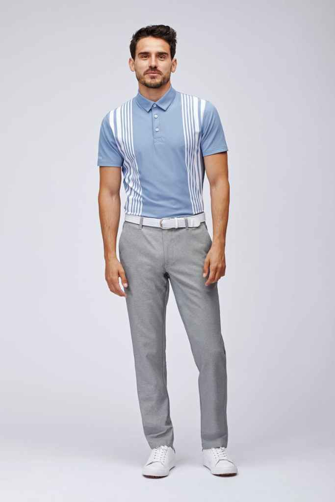 bonobos M-Flex Polo Light Blue Placed Stripe