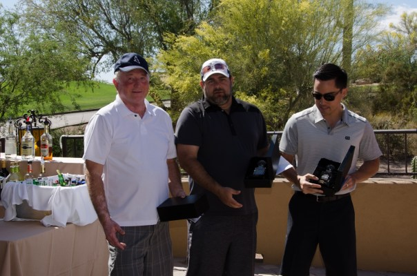 FAAMA Tournament's  rst prize went to the winning team (L to R) of John Thompson, Antone Bencich, and Neal Thompson who received a trophy and four one-way tickets on Southwest Airlines.
