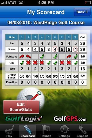 GolfLogix iPhone app - scorecard front nine